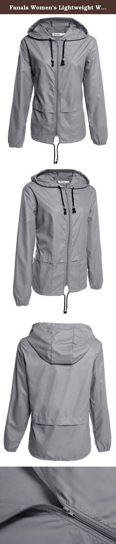 Fanala Women's Lightweight Waterproof Hoodie Raincoat Cycling Packable Jacket (US M(8-10), Gray). Desription: Material: 98% Polyester and 2% Viskose 4 Colors: Sky Blue, Gray, Dark Blue, Black Design: Zip Up Front, Drawstring Hem Season: All Season Color Style: Natural Color Pattern: Solid Decoration: Pocket Easy to deal with light rain, quick-drying, suitable for all season. Drawstring hooded and drawstring hem to help keep you dry. Suitable for Climbing/ Hiking/ Camping/ Cycling and…