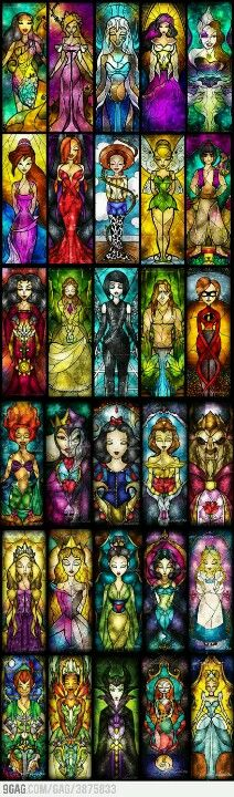 Disney stained glass awesome idea for a disney sleeve