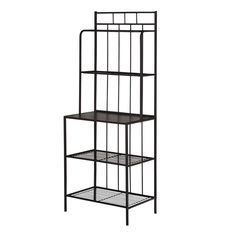 Black Metal Bakers Rack Kitchen Storage Shelves Recipe Books Cookware Accents #SimpleLiving