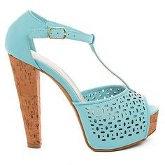 Clarice08 Peep Toe Laser Cut Out T-Strap Platform Corkscrew Chunky Heels