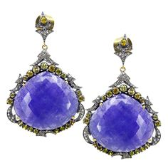 14k Gold Tanzanite Sapphire Dangle Earrings Diamond Pave Sterling Silver Jewelry #raj_jewels