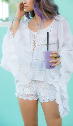 Gauzy top + crochet shorts ╰☆╮Boho chic bohemian boho style hippy hippie chic bohème vibe gypsy fashion indie folk the 70s . ╰☆╮