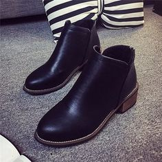 Zipper Square Heel Pure Color Ankle Short Martin Boots For Women