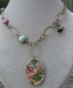 Watercolor Rose Necklace by SilverParrot on Etsy