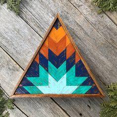 Wood Wall Art, Barn Quilts, Wood Signs, Mountain Art by CrowBarDsigns Wood Mosaic, Mosaic Wall Art, Diy Wall Art, Southwestern Wall Decor, Southwestern Style, Painted Barn Quilts, Wooden Barn, Barn Quilt Patterns, Wooden Wall Decor