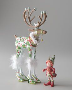 """Patience Brewster """"Vixen"""" Reindeer Figure and Elf Ornament"""