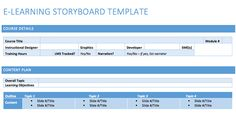 e-learning storyboard templates