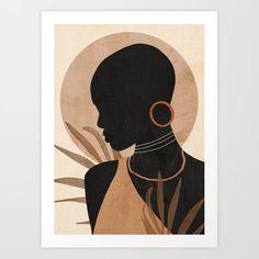 African American Art, African Art, Office Deco, Tropical Girl, Black Art Painting, Mini Canvas Art, Guache, Female Art, Pop Art