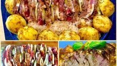Schab faszerowany pieczony z kapustą i ziemniaczkami Baked Potato, Potatoes, Meat, Chicken, Ethnic Recipes, Food, Joker, Potato, Essen