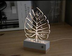 Items similar to Leaf tropical monstera//nightlight // lamp // nature // modern decoration // led // plexiglas // gift idea on Etsy Table Lamp Wood, Wood Lamps, Luminaire Design, Lamp Design, Sign Design, Trophy Design, Laser Cutter Projects, 3d Laser, Led Night Light
