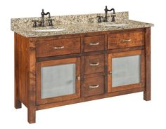 Garland - Large Brown Maple Free Standing Bathroom Vanity / Quick Ship This Amish furniture for your bathroom keeps items you need stored conveniently below the sink. No need to trek to the hall closet for extra soap.
