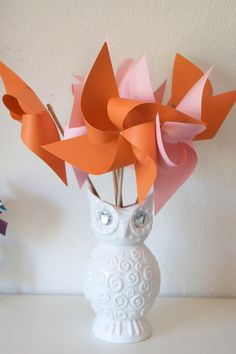 Orange and Pink Decor Pinwheels and Polka Dots Baby Shower Favors Wedding Favors Decor Birthday Favors - 12 Large Paper Pinwheels - pinned by pin4etsy.com