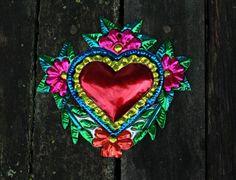 Mexican Tin Milagro Ornament Heart & Flower Love Token Hand made Folk Art Oaxaca