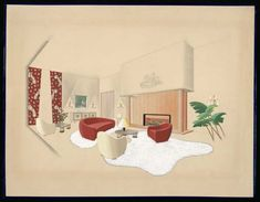 Jean ROYERE project with fireplace for the Great Living room of the French Legation in Helsinki (Finland), gouache, Les Arts Décoratifs Museum, Paris. Helsinki, Vine Wall, Types Of Furniture, Mid Century, Architectural Sketches, Guilty Pleasure, Living Room, The Originals, Interior Design