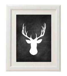 Chalkboard Deer Head Print. $4.50, via Etsy.