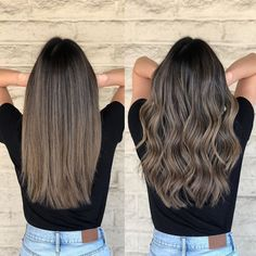 Long Wavy Ash-Brown Balayage - 20 Light Brown Hair Color Ideas for Your New Look - The Trending Hairstyle Grey Balayage, Balayage Brunette, Hair Color Balayage, Brunette Hair, Hair Highlights, Ash Brown Hair Balayage, Fall Balayage, Balayage Straight, Bronde Balayage