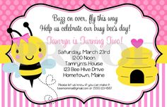 Printable Invitation - Happy BEE-Day Invitations - Bumble Bee Invitations - Coordinating Party Decorations Available. $12.00, via Etsy.