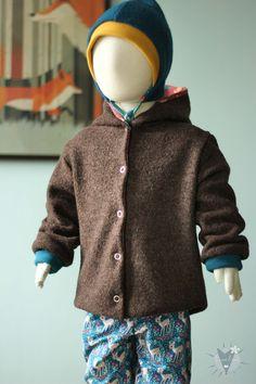 Overalls - Kinder-Wolljacke zum Wenden - ein Designerstück von fuxandfriends bei DaWanda