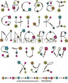 Typography KIDS Vetores e Vetores clipart Stock | Shutterstock Doodle Alphabet, Hand Lettering Alphabet, Flower Alphabet, Doodle Lettering, Creative Lettering, Lettering Styles, Flower Letters, Alphabet Letters, Alphabet Fonts
