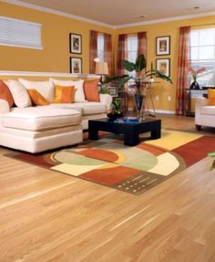 Bring in a look that's bold and warm with the KAS Rugs Signature Rust/Coffee Art Deco Area Rug. This geometric rug has a bold modern design of curves. Living Room Decor Colors, Room Wall Colors, Living Room Color Schemes, Living Room Designs, Home Interior Design, Interior Decorating, Living Room Orange, Sofa Design, Colorful Interiors