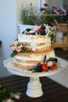 Cuculandia: NAKED CAKE na Chrzest Św. Cake, Desserts, Tailgate Desserts, Deserts, Kuchen, Postres, Dessert, Torte, Cookies