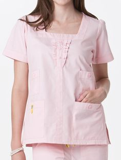 Four Pocket Ruffle Neck Top Womens Scrubs, Top P, Scrub Tops, Tunic Tops, Couture, Unisex, Nursing Uniforms, Sleeves, Pocket