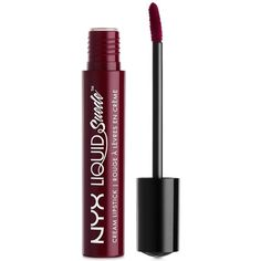 Nyx Professional Makeup Liquid Suede Cream Lipstick (£5.56) ❤ liked on Polyvore featuring beauty products, makeup, lip makeup, lipstick, beauty, lip, vintage, nyx lipstick, glossy lipstick and nyx