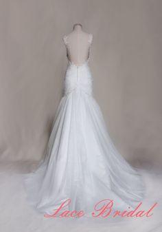 Sexy Wedding Dress Spaghetti Strap Bridal Gown by LaceBridal, $396.00