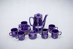 Serwis PRL Tułowice, sygnowany | Signed coffee set from Tułowice, PRL | buy only on Patyna.pl  #Tułowice #coffeeset #PRL #blue #porcelite #kitchen #party #Polish #design #nspiration #vintage #retro #vintagefinds #vintagelove #60s #1960s #Polska