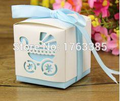 48 pacote rosa ou azul bebê Laser Cut praça caixa Favor do bebê favores do partido ( azul )