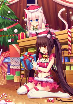 ❄• ~ MERRY CHRISTMAS & HAPPY HOLIDAYS! ~ •❄ anime art. . .santa girl costume. . .neko. . .cat girls. . .cat ears. . .cat tail. . .christmas tree. . .presents. . .long hair. . .collar. . .bells. . .stockings. . .santa hat. . .cute. . .moe. . .kawaii