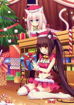 ❄• ~ MERRY CHRISTMAS & HAPPY HOLIDAYS! ~ •❄ anime art. . .santa girl costume. . .neko. . .cat girls. . .cat ears. . .cat tail. . .christmas tree. . .presents. . .long hair. . .collar. . .bells. . .stockings. . .santa hat. . .cute. . .moe. . .kawaii