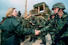 As First Lady, she did a lot of traveling, like to Bosnia in 1996 to meet US soldiers. (Photo byWin McNamee / Reuters)  via @AOL_Lifestyle Read more: http://www.aol.com/article/2016/06/20/heres-why-voters-dont-like-donald-trump-and-hillary-clinton/21398108/?a_dgi=aolshare_pinterest#fullscreen