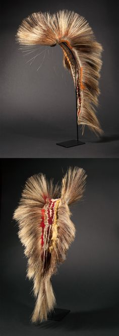 Roach / head ornament from the Plains Indians   Dyed porcupine fur, and braided leather   Late 19th to early 20th century