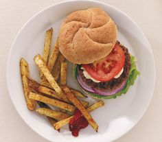 California Burgers With Spicy Oven Fries   Get the recipe: http://www.realsimple.com/food-recipes/browse-all-recipes/california-burgers-00100000072564