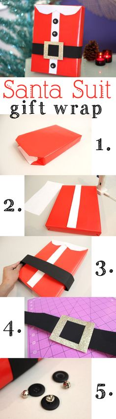 A DIY gift wrap idea that puts the ho-ho-ho in the holidays! A Santa Suit gift wrap, complete with collar and belt. It just may be the best-dressed gift under the tree this season. How-to tutorial: http://www.ehow.com/how_12340335_santa-suit-gift-wrap.html?utm_source=pinterest&utm_medium=fanpage&utm_content=inline