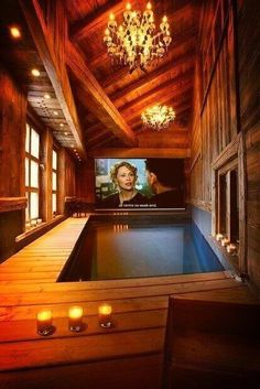 Indoor swimming pool movie theater