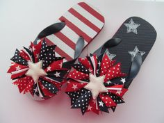 Red White and Blue Navy Patriotic Flag Flip by laladivabowtique