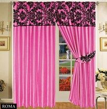 Half Flock with Plain Design Fully Lined Ready Made Pencil Pleat Curtains - Fuchsia with Black - RV Your Price: £19.99
