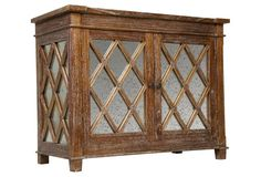 Elis Antique Glass Sideboard, Brown
