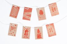 Letterpress Christmas Gift Tags / Red by NormansPrintery on Etsy https://www.etsy.com/listing/165490993/letterpress-christmas-gift-tags-red