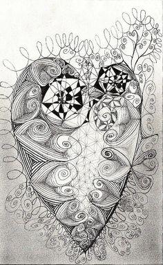 """""""Herz"""", Tusche und Silberstift auf Ingrespapier, 13x21cm, 2014  http://istvanseidel.de/zeichnung"""