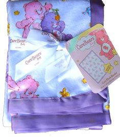 $24.97 Baby Care bears baby nursery blanket plush with stain trim