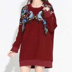 Flower embroidered sweatshirt dress for women fringe clothing long style