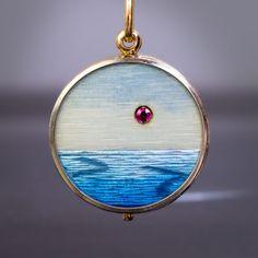 Unusual Antique Guilloche Enamel Locket Pendant - Antique Jewelry | Vintage Rings | Faberge Eggs