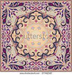 Detailed floral pattern for scarf, shawl, bandana, carpet or ...