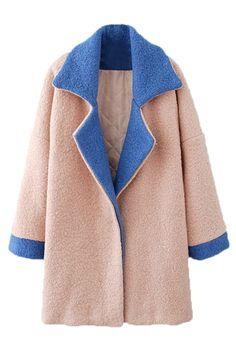 カラー ブロック長袖ピンクのウール コート ¥6,899