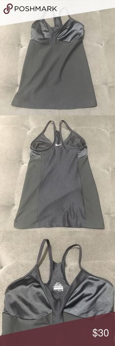 Nike Satin & Mesh Tank Top Like new condition. Barely worn. No visible flaws. Great workout tank top. Built in bra  Size Small  For measurements or additional information please comment below! We are fast to respond! Ships same day/next day M-SAT before 3PM PST. Please, no price discussion in comment. No trades, thank you! We accept reasonable offers using the offer button only. Thank you for supporting us (1) Nike Tops Tank Tops