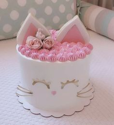 Tortas Kitten Cake, Kitten Party, Cat Party, Birthday Cake For Cat, First Birthday Cakes, Pretty Cakes, Cute Cakes, Bolo Laura, Gateau Harry Potter