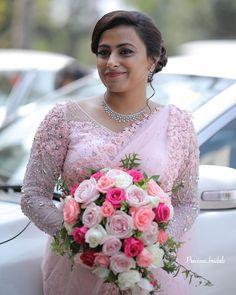 Christian Wedding Sarees, Christian Bride, Saree Wedding, Wedding Attire, Wedding Dresses, Kerala Engagement Dress, Engagement Saree, Engagement Dresses, Simple Saree Designs